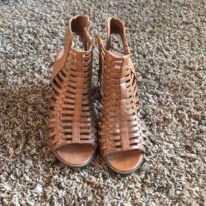 Tan spring booties
